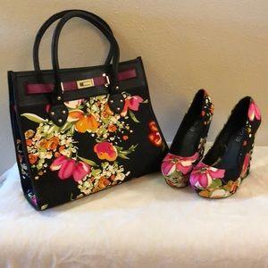 ALDO Closed-Toe Floral Print Wedges & Purse